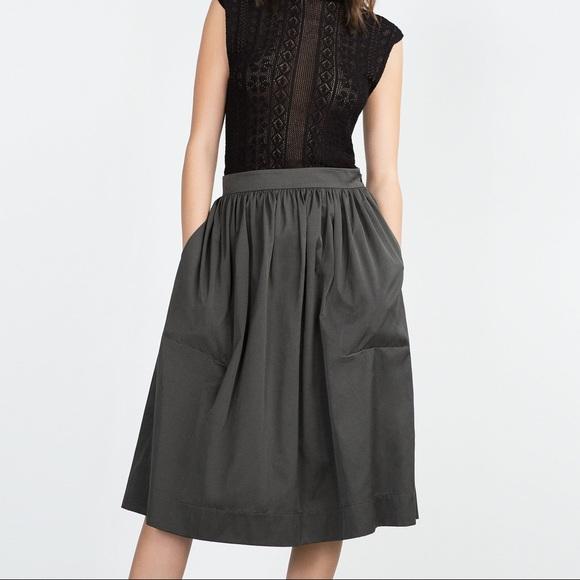 Zara Black Velvet Pleated Midi Skirt Size S Bnwt Women's Clothing Skirts